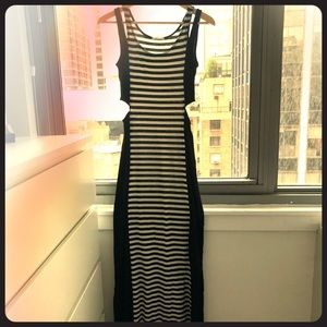 Black and white dress with sexy holes on the sides
